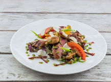 Salad with meat and mushrooms Royalty Free Stock Photography