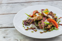 Salad with meat and mushrooms Stock Photography