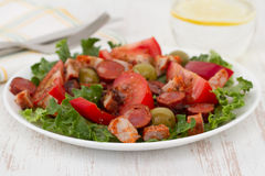 Salad with meat and olives Stock Image