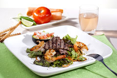 Salad with meat and shrimp Royalty Free Stock Photography