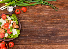 Salad with meat and tomatoes. Royalty Free Stock Photos