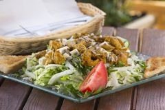 Salad with meat on wooden background Royalty Free Stock Image