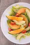 Salad with melon and avocado Royalty Free Stock Image