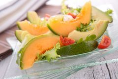 Salad with melon and avocado Royalty Free Stock Photography
