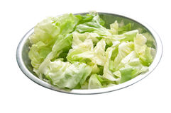 Salad on a metal bowl Royalty Free Stock Photography