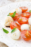 Salad with mini mozzarella, cherry tomatoes and basil Royalty Free Stock Photos