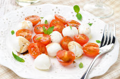 Salad with mini mozzarella, cherry tomatoes and fresh basil Royalty Free Stock Images