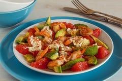 Salad - a mix of avocado, shrimp and grapefruit. Stock Photos