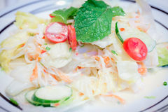 Salad mix  with fresh vegetable and crab stick. Stock Images