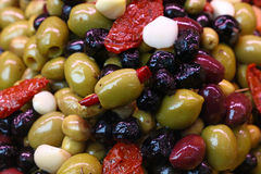 Salad mix of olives in oil close up Stock Image