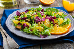 Salad mix with orange and walnuts Stock Image