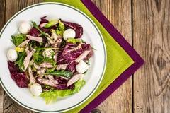 Salad mix with sausage, mozzarella, chia seeds. Studio Photo stock photos
