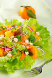 Salad Mix With Persimmons, Tangerine And Hazelnuts Royalty Free Stock Image
