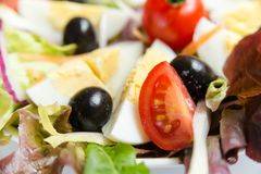 Salad with mixed vegetables and eggs Royalty Free Stock Image