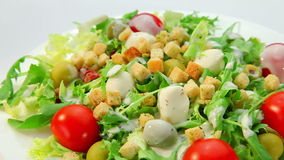 Salad with mozarella cheese stock video