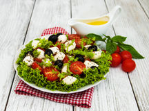 Salad with mozarella cheese and vegetables Royalty Free Stock Images