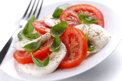 Salad with mozzarella  and tomato Stock Photos