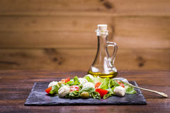 Salad with mozzarella and tomatoes Royalty Free Stock Photography