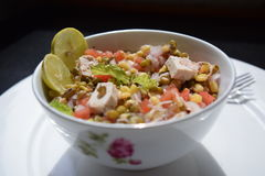 Salad mung bean sprout,lime,tofu,onion and tomatoes Royalty Free Stock Photos