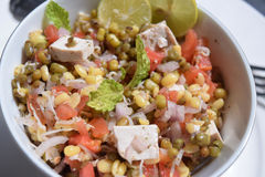 Salad mung bean sprout, lime, tofu, onion and tomatoes stock image