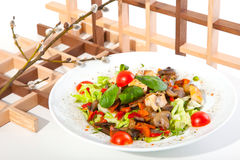 Salad with mushrooms and chicken Royalty Free Stock Image