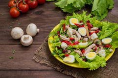 Salad with mushrooms, chicken, quail eggs, paprika, lettuce and pomegranate, on a wooden table. Top view Stock Images