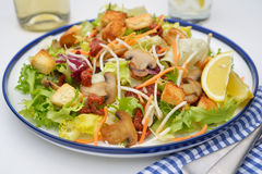 Salad with mushrooms and croutons Stock Photography