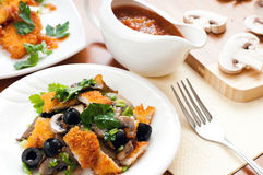 Salad with mushrooms, olives and chicken breast Stock Photo