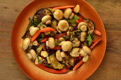 Salad with mushrooms, roasted eggplant and peppers Stock Photography