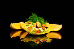 Salad of mussels with corn and peas Stock Photography