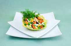 Salad of mussels with corn and peas Royalty Free Stock Photography