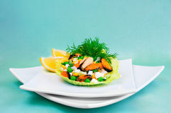 Salad of mussels with corn and peas Royalty Free Stock Image