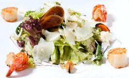 Salad with mussels and prawns Royalty Free Stock Image