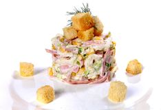 Salad of napa cabbage, ham and corn. Isolated over white background royalty free stock images