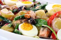 Salad Nicoise. Beans, potatoes, tomatoes, eggs, black olives, red onion, anchovies, and flaked salmon Royalty Free Stock Photos