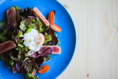 Salad Nicoise on a blue plate ready to be eaten. Salad Nicoise with tuna fish, boiled eggs, tomatoes, iceberg Royalty Free Stock Photos