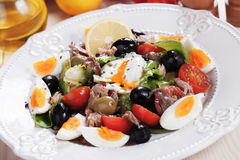 Salad Nicoise with eggs and tuna Royalty Free Stock Photography