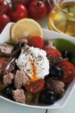 Salad nicoise with poached egg Stock Photo