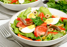 Salad Nicoise. With tomatoes, eggs and anchovies and olives Royalty Free Stock Images