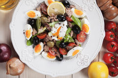 Salad Nicoise with tuna and boiled eggs Royalty Free Stock Photo