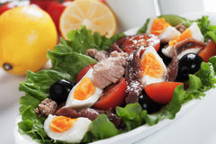 Salad Nicoise with tuna and bolied eggs Royalty Free Stock Photos