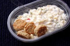 Salad of noodles with meatballs Stock Photo