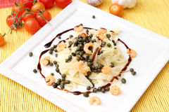 Salad of noodles and capers royalty free stock images