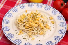 Salad of noodles with corn Stock Image