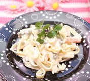 Salad of noodles. A fresh salad of noodles with peas and carrots Royalty Free Stock Photo