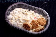 Salad of noodles with meatballs Royalty Free Stock Photos
