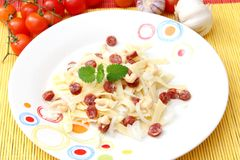 Salad of noodles with salami Stock Photography