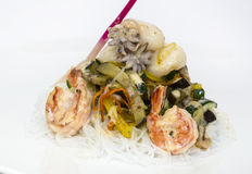 Salad of noodles and seafood Stock Image