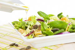 Salad with olive oil. Royalty Free Stock Photography