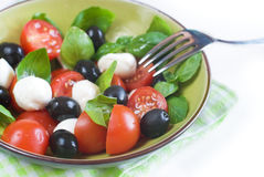 Salad with olives. Salad with tomatoes, mozarella, olives and basil Stock Image